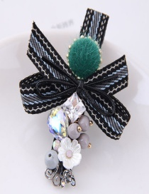 Lovely Black+green Bowknot&flower Decorated Hairpin