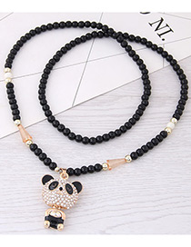 Fashion Gold Color+black Bear Pendant Decorated Long Necklace