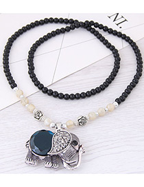 Fashion Silver Color+black Elephant Pendant Decorated Long Necklace