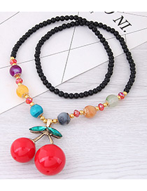 Fashion Red+black Cherry Pendant Decorated Long Necklace