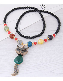 Fashion Green Fox Pendant Decorated Long Necklace