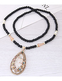 Fashion White Shell Pendant Decorated Long Necklace