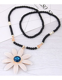 Fashion White+blue Flower Pendant Decorated Long Necklace