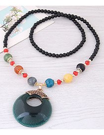 Fashion Dark Green Hollow Out Round Shape Decorated Necklace