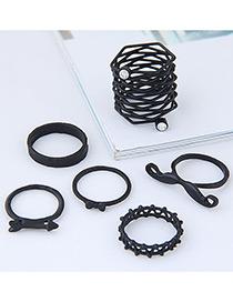 Fashion Black Moustache Shape Decorated Ring (6pcs)