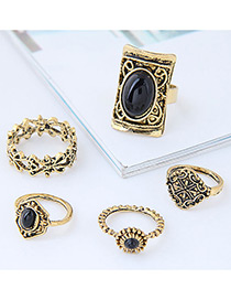 Fashion Gold Color+black Shield Shape Decorated Ring (5pcs)