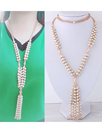 Fashion Champagne Beads Decorated Tassel Design Necklace