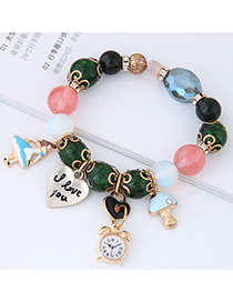 Fashion Green Girl&heart Shape Decorated Bracelet
