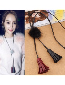 Fashion Black Tassel&fuzzy Ball Decorated Necklace