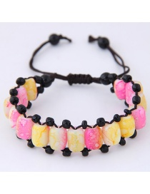 Fashion Yellow+pink Beads Decorated Color Matching Bracelet