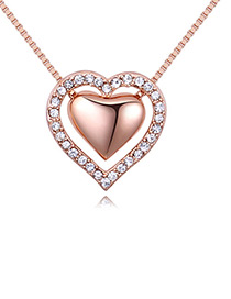 Fashion Rose Gold Double Heart Shape Decorated Necklace