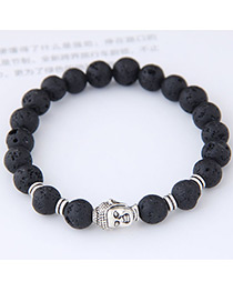 Elegant Black Buddha Statue Shape Decorated Bracelet