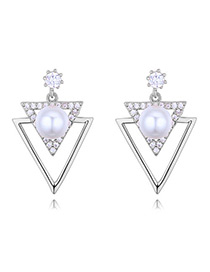 Elegant Silver Color Triangle Shape Decorated Earrings