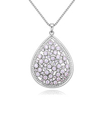 Elegant Silver Color Waterdrop Shape Decorated Necklace