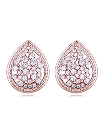 Elegant Rose Gold Waterdrop Shape Decorated Earrings