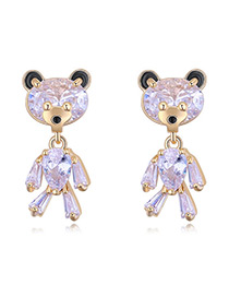 Elegant Rose Gold Bear Shape Decorated Earrings