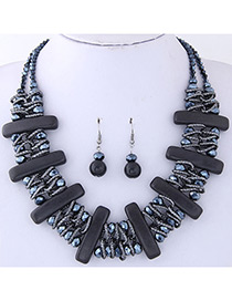 Fashion Black Vertical Shape Decorated Jewelry Set