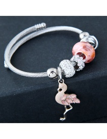 Fashion Pink+silver Color Flamingo Shape Decorated Braclet