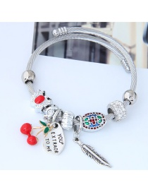 Fashion Silver Color+red Cherry Shape Decorated Bracelet