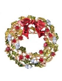 Fashion Multi-color Wreath Shape Decorated Christmas Brooch