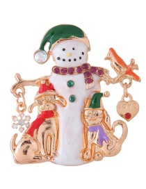 Fashion Multi-color Snowman Shape Decorated Christmas Brooch