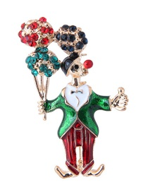 Fashion Multi-color Christmas Clown Shape Decorated Brooch