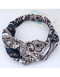 Fashion Brown+blue Flower Pattern Decorated Hair Band