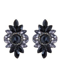 Fashion Gray+black Diamond Decorated Flower Shape Earrings
