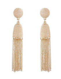Trendy Gold Color Pure Color Decorated Tassel Earrings