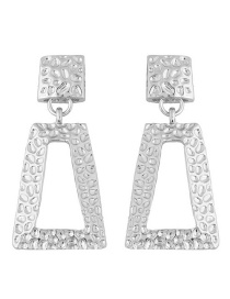 Trendy Silver Color Geometric Shape Decorated Pure Color Earrings