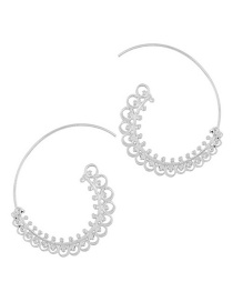 Trendy Silver Color Pure Color Decorated Simple Earrings