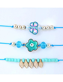 Trendy Blue+gold Color Flower Decorated Adjustable Bracelet (3pcs)