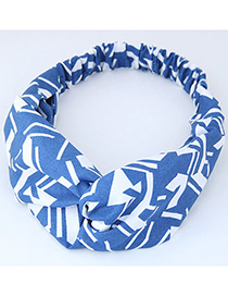 Trendy Blue+white Color Mathcing Decorated Cross Design Hair Band