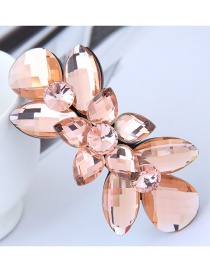 Fashion Pink Oval Shape Diamond Decorated Hairpin