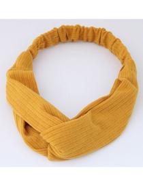 Fashion Yellow Pure Color Decorated Headband