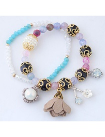Fashion Multi-color Flower Decorated Bracelet