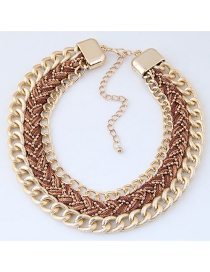 Fashion Coffee Color Matching Decorated Necklace