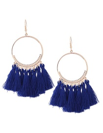 Vintage Sapphire Blue Circular Ring Decorated Rassel Earrings