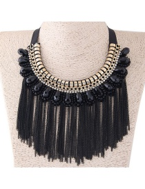 Fashion Black+gold Color Long Tassel Decorated Simple Necklace