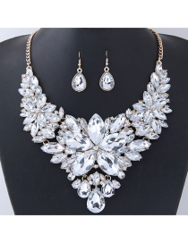 Fashion White Gemstone Decorated Pure Color Jewelry Sets