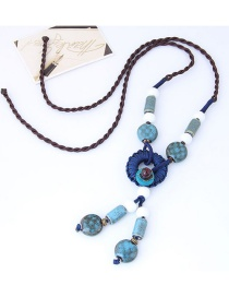 Bohemia Light Blue Beads Decorated Hand-woven Necklace