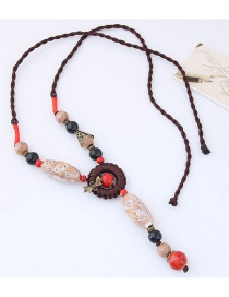 Bohemia Pink+brown Bowknot&beads Decorated Hand-woven Necklace