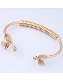 Fashion Gold Color Flowers Decorated Opening Bracelet