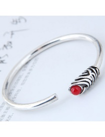 Fashion Red+silver Color Round Shape Decorated Opening Bracelet
