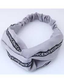 Fashion Gray Letter Pattern Decorated Headband