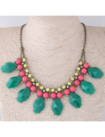 Fashion Green+red Oval Shape Decorated Necklace