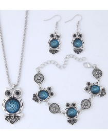Fashion Silver Color+blue Owl Shape Decorated Jewelry Set