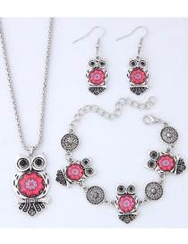 Fashion Red+silver Color Owl Shape Decorated Jewelry Set