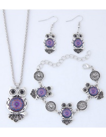 Fashion Purple+silver Color Owl Shape Decorated Jewelry Set