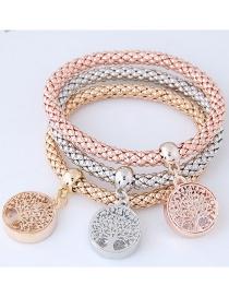 Fashion Silver Color+gold Color+rose Gold Tree Shape Decorated Bracelet (3 Pcs)